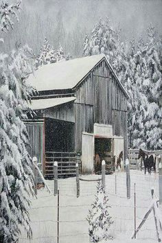 Country Winter - Snow Storm on the farm, barn, horses Farm Barn, Old Farm, Country Barns, Country Life, Country Living, Country Roads, Cabana, Barn Pictures, Barns Sheds