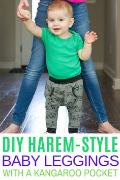 These super cozy Harem-Style Baby Leggings with a cute little Kangaroo Pocket are so easy to make! And let me just tell you…..these are perfect for the early crawler/walker!  Or even bigger kiddos who are constantly jumping and wiggly and sprawled out all over the place! #DIYlegging #haremstyleleggings
