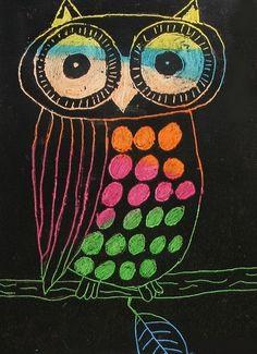 Scratch Art Owls - Grade 8, child artist unknown (via heidabjorg)
