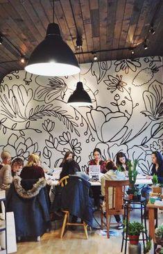Kitchen Wall Mural Diy 18 New Ideas Mural Cafe, Cafe Wall, Mural Wall Art, Mural Painting, Kids Wall Murals, Pattern Wall, Diy Wall, Wall Decor, Office Mural