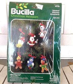 Bucilla Christmas Heirloom 6 Jeweled Stitchery Ornaments Felt Kit #48786 needle #Bucilla
