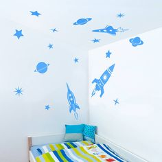 space rockets wall sticker set by oakdene designs | notonthehighstreet.com