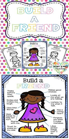 """Build a friend activity. Students will """"build"""" a friend that they would like to have. They will list traits they would like for that friend to have. Great for students who are struggling to make and keep friends, and building social skills and SEL skills. Character Education Lessons, Social Skills Lessons, Social Skills Activities, Teaching Social Skills, Art Therapy Activities, Social Emotional Learning, Life Skills, Character Trait, Teaching Tools"""