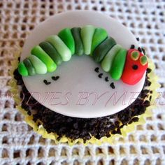 Hungry caterpillar fondant cupcake topper