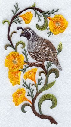 California Quail and Poppy 1 Block Embroidered by remimartin