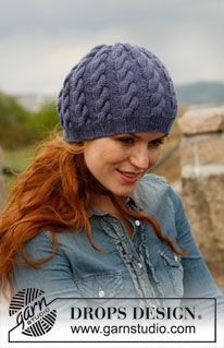 """Knitted DROPS hat with cables in """"Karisma"""". ~ DROPS Design"""