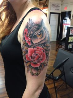 Owl and rose tattoo