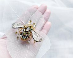Charming, statement Bee pin - unique Honey Bee jewelry. Bee brooch will be luxury gift for her, gift for Nature Lover. Charming as Thank You