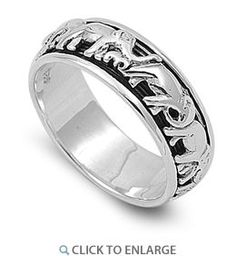 Sterling Silver Spinner Elephant Band Ring