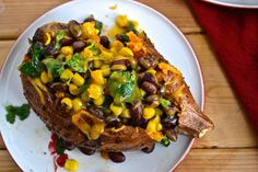 Baked Stuffed Sweet Potatoes with Black Beans and Corn