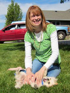 Dog being tickled, super cute, Pekingese!  Bijou Kingsley