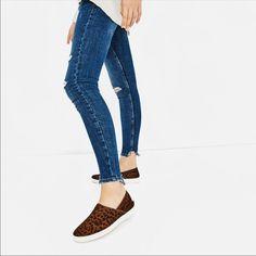 Nwt Zara 2 In 1 Leather Cheetah Print Sneakers