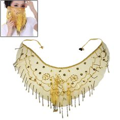[$4.00] Professional Belly Dance Veil with Beads Dancing Jewelry /Fashion Belly Dance Face Scraf (黄色)(Yellow)