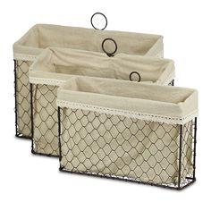 August Grove Fieldon 3 Piece Lined Wire Storage Basket Set Wire Basket Storage, Fabric Storage Bins, Wire Storage, Metal Baskets, Fabric Bins, Large Baskets, Baskets On Wall, Wood Basket, Paper Basket