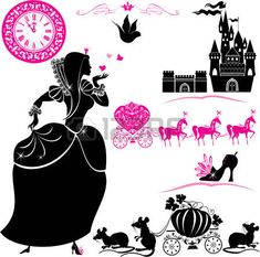principessa vintage: Fairytale Set - sagome di Cenerentola, carrozza di zucca…