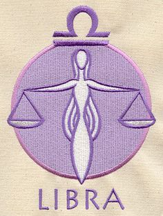 Libra Astrology Embroidered Flour Sack by EmbroideryEverywhere