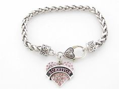 Survivor Breast Cancer Pink Ribbon Crystal Silver Bracelet