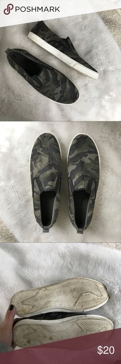 Zara men camo print slip ons Worn but still in great shape. Some marking on the sole but I'm sure if wiped down it would come right up. Zara Shoes Sneakers