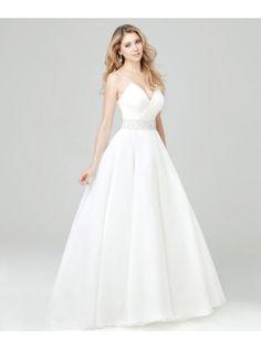 Beaded Button-Up Natural Waist A-Line #Wedding Dress http://www.planetgoldilocks.com/weddingsupplies.htm #fashions