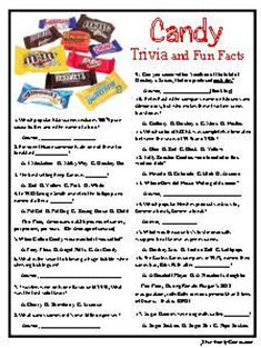 Candy Trivia some sweet candy trivia about those treats we | Etsy Christmas Trivia, Christmas Games For Family, Christmas Party Games, Family Games, Holiday Games, Christmas Ideas, Family Quiz, Christmas Jokes, Thanksgiving Games