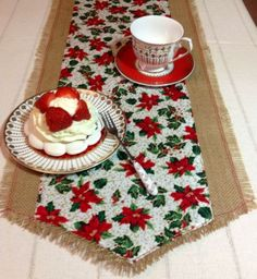 Traditional rustic burlap Christmas table runner 6 ft cotton natural Hessian