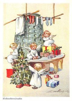 Alte AK col. Künstlerkarte Erica von Kager / Weihnachten / Engel am Kachelofen | eBay