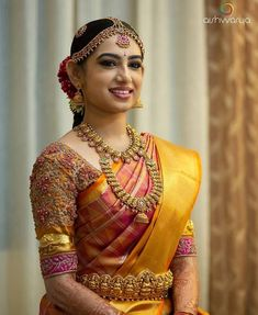 Tired of scrolling through a bunch of pages to find that perfect blouse designs? Check out the top most South Indian blouse designs to pair with a kanjeevaram saree- Eventila South Indian Wedding Saree, Indian Bridal Sarees, Bridal Silk Saree, Indian Bridal Outfits, Indian Bridal Fashion, Wedding Sarees, South Indian Bride Jewellery, Bride Indian, Kerala Bride