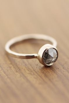 Melissa Joy Manning: 1.45 Carat black grey round rose cut diamond ring-18K Gold
