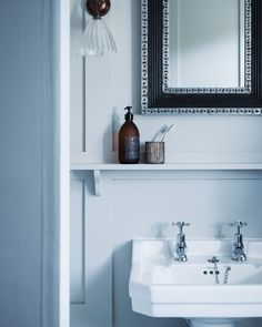 Shiny chrome finish seperate hot and cold: Bathroom Sink in Blue Dorset House by Mark Lewis, Photo by Rory Gardiner Bathroom Wall Lights, Glass Bathroom, Bathroom Ideas, Bathroom Vanities, Bathroom Inspiration, Master Bathroom, Old English Decor, Dorset House, Kitchen Shutters