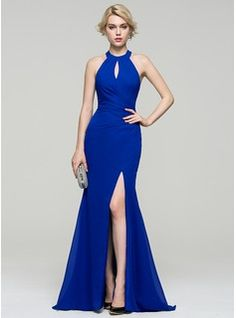 Trumpet/Mermaid Scoop Neck Sweep Train Ruffle Split Front Zipper Up Regular Straps Sleeveless No Royal Blue Spring Summer Fall General Plus Chiffon Evening Dress