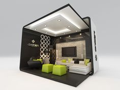 Here's a cool way to show off the Smart Bedroom without enclosing the entire room. I like the artificial perspective created by the floor  ceiling.