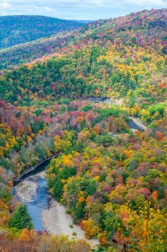 The lookout at Worlds End State Park offers spectacular views of Loyalsock Creek and the autumn colors on the Endless Mountains of Pennsylvania.