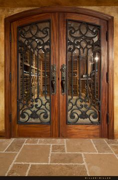 Love these doors. The doors to the wine cellar are mahogany, like the front door, but have iron panels in an intricate design. Iron Front Door, Double Front Doors, Double Doors Entryway, Beautiful Front Doors, Unique Doors, Wrought Iron Doors, Front Entrances, Entrance Doors, House Entrance