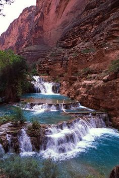 ✯ Beaver Falls, Grand Canyon By Havasu Falls Oh The Places You'll Go, Places To Travel, Places To Visit, Best Swimming, Swimming Holes, Beaver Falls, Arizona, Photos Voyages, Beautiful Waterfalls