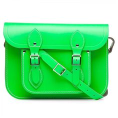 The Cambridge Satchel Company leather satchel in fluro green. More where that came from: http://www.bodyconfidential.co.uk/Cant-Get-Enough-Of/Cant-Get-Enough-Of-Spring-Handbags