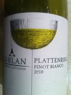 "Girlan Pinot Bianco Alto Adige DOC Plattenriegl 2010.  The producer is Girlan (a Co-operative), the grape is Pinot Blanc, the area (appellation) is Alto Adige, and the vineyard which produced  this delightful white wine is called ""Plattenriegl"", in the north west of Italy.  ""There is a polished, lemon, pine nut and aniseed nose which gives way to a concentrated but beautifully balanced and mineral palate with real persistence."" telegraph.co.uk."