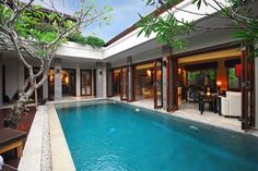 bali architecture - structures built around pool