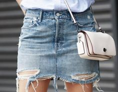 Street style, casual outfit, spring chic, summer chic, white shirt, denim skirt, white bag