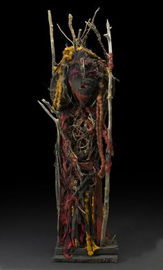 Sylvain and Ghyslaine Staelens    Tête Noire  , 2015 Wood, metal, cloth, found objects 45 x 16 x 10 inches 114.3 x 40.6 x 25.4 cm GSS 48