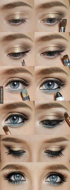 Schönes Augen Make-Up für blaue Augen