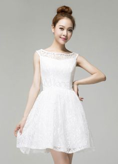[$59.99] White A-line Lace Bateau Neck Gorgeous Cocktail Dress