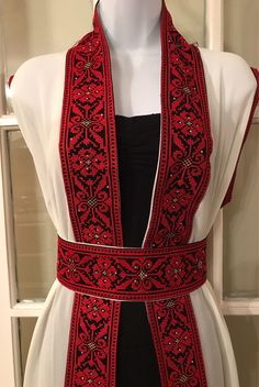 Long White Sleeveless Kimono / Vest / Jaket with Red Palestinian Embroidery / corss stitch The belt is included in the price Folk Clothing, Form Design, Culture, Maxis, Vintage, Trending Outfits, Point, Womens Fashion, How To Wear