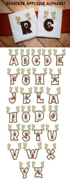 Reindeer Applique Alphabet Machine Embroidery Designs by JuJu Christmas Alphabet, Christmas Fonts, Christmas Applique, Christmas Embroidery, Christmas Crafts, Embroidery Store, Embroidery Applique, Machine Embroidery Designs, Embroidery Files