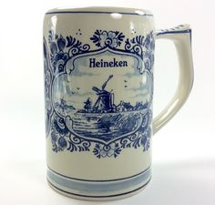 Heineken Beer Stein Tankard Mug Delft Blue Dutch Holland GKB crown handscreened  #HeinekenGKBcrown