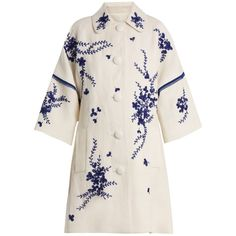 Andrew Gn Floral-embroidered linen coat ($2,763) ❤ liked on Polyvore featuring outerwear, coats, blue white, flower print kimono, embroidered kimono, floral print kimono, sequin coat and sequin shrug