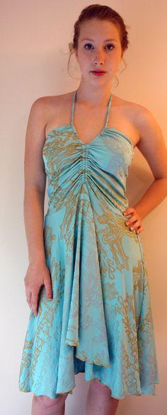 Sara wearing Hand Silk Screened Dress from NY