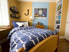 This boy's bedroom measures just 10' x 10', creating a real challenge for mom and designer Janice Peters. Her 11-year-old son, Jason, is an avid scholar who needs room to store his books and scientific equipment.