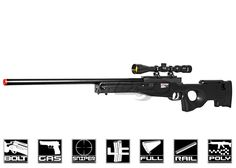 Well MK96 MB01B Bolt Action Gas Powered Sniper Rifle Airsoft Gun ( Black )