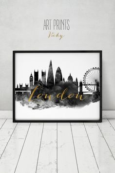 London poster, black and white print, watercolor, Wall art, London, England…