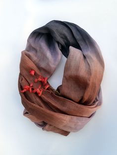 Oversized Scarf  Pure Brown Lavender Linen Shawl  Long by lyralyra, $32.00